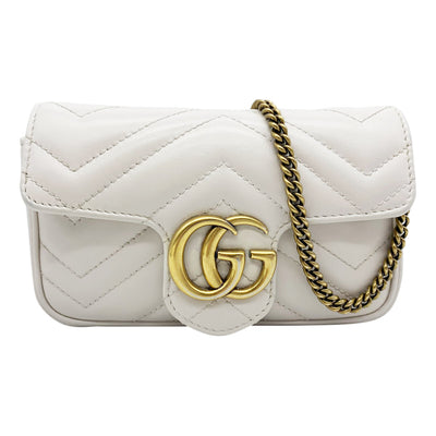 Gucci Marmont Gg Super Mini White Leather Shoulder Bag