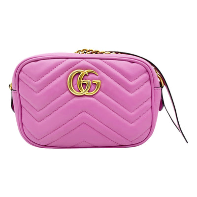 Gucci Marmont Mini Matelasse Gg Pink Leather Cross Body Bag