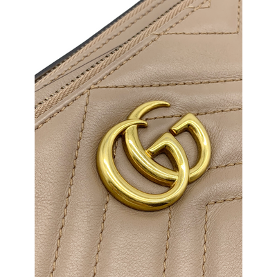 Gucci Marmont Gg Chain Matelasse Quilted Detachable Pouch Beige Leather
