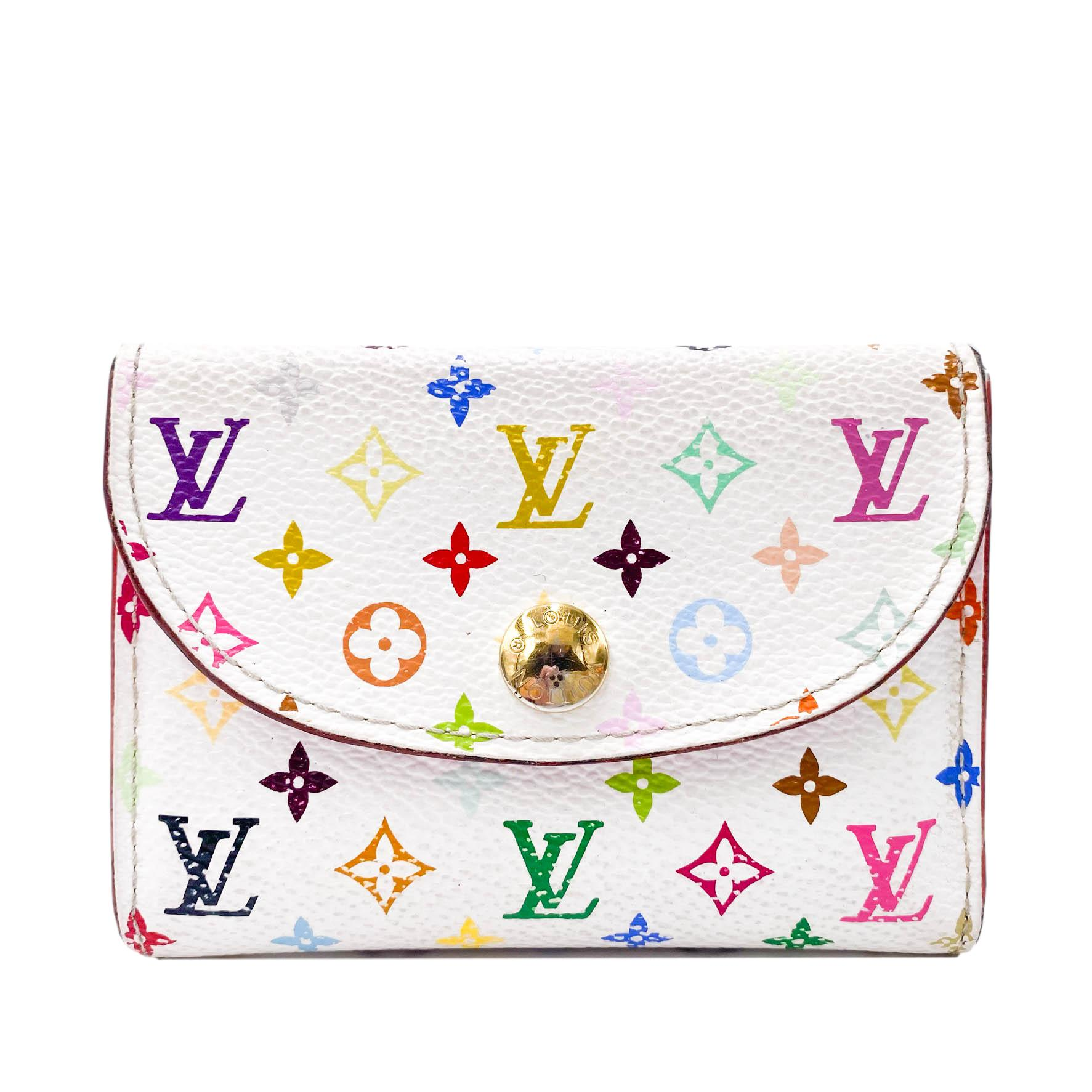 Louis Vuitton White Monogram Multicolor Business Card Holder Wallet