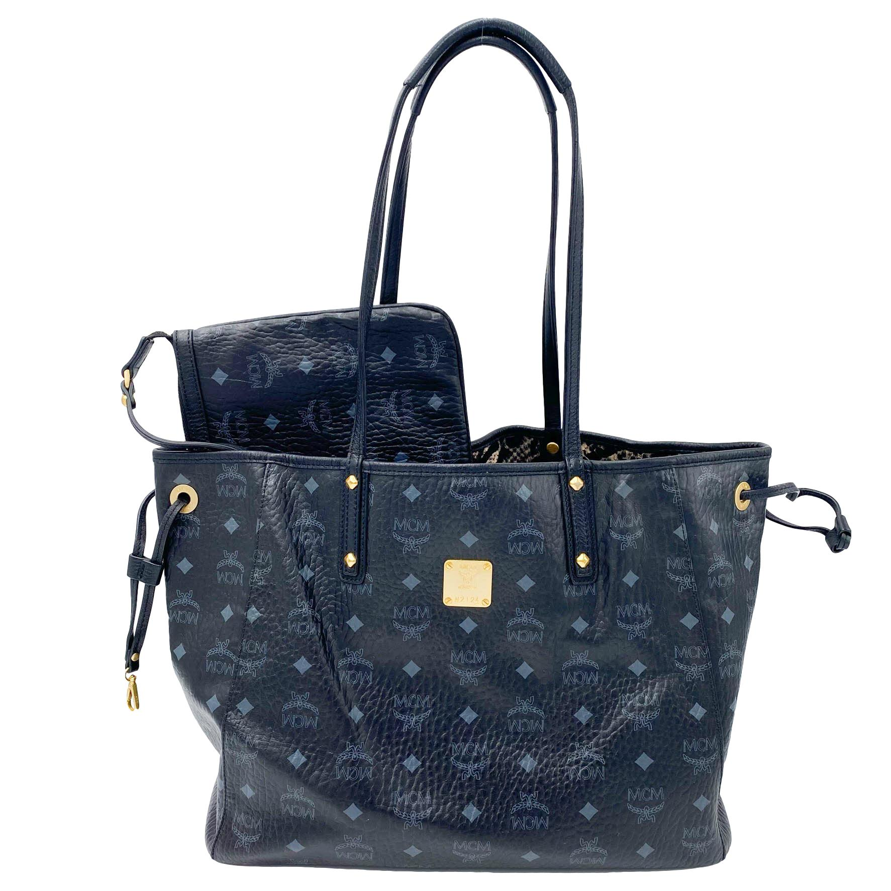 MCM Visetos Medium Liz Reversible Shopper Black Coated Canvas Tote