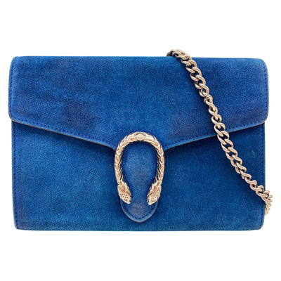 Gucci Chain Wallet Dionysus Mini Blue Suede Leather Cross Body Bag