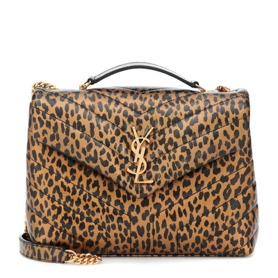 Saint Laurent Monogram Loulou Small Brown Leopard Calfskin Leather Shoulder Bag