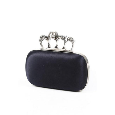 Alexander McQueen Box Skull Four-ring Leather Black Satin Clutch