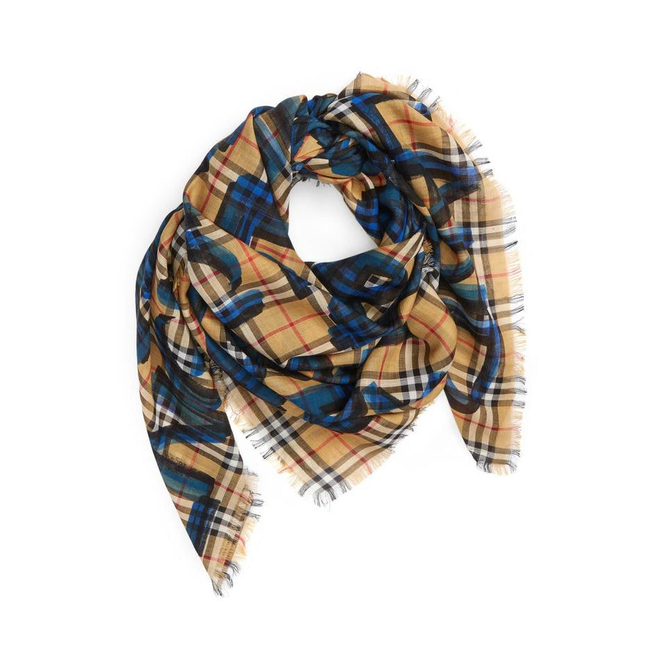 Burberry Blue Graffiti Graffiti-print Wool-silk Large Square House Check Scarf/Wrap