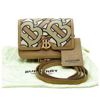 Burberry London Tb Pieced Monogram Beige Leather Shoulder Bag