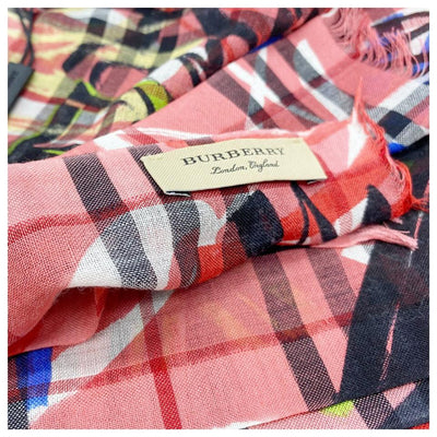 Burberry Pink Vintage Check Wool Silk Oblong Blossom Scarf/Wrap