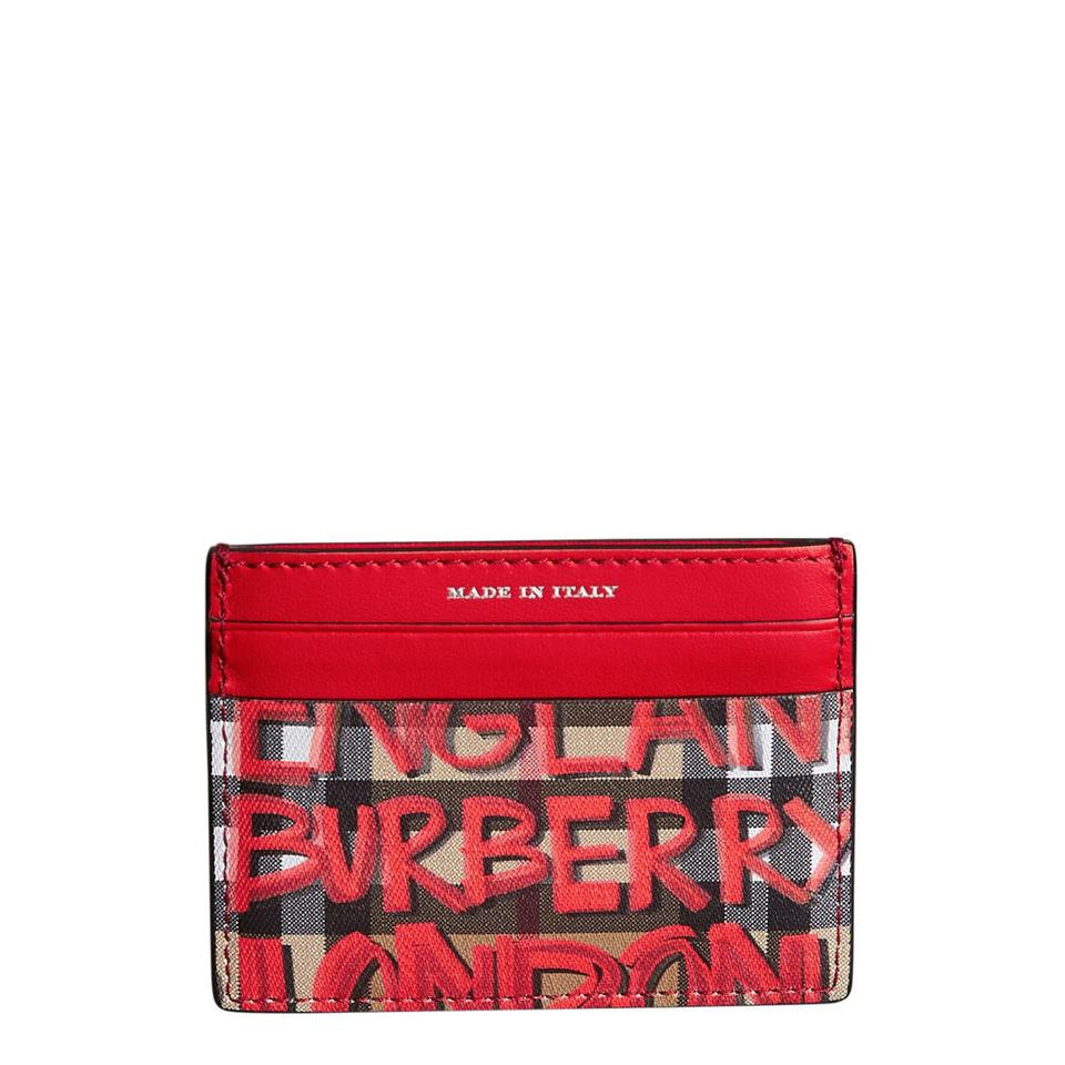 Burberry Red Graffiti Sandon Leather Card Case Retail Wallet