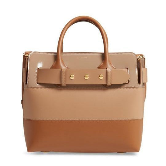 Burberry Small Belt Colorblock Satchel Brown Leather Tote
