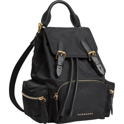 Burberry Small Rucksack Technical & Leather Black Nylon Backpack