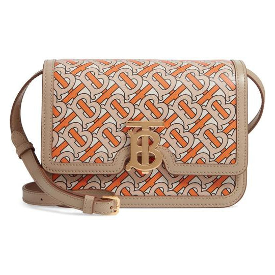 Burberry Tb Monogram Bright Orange Beige Leather Shoulder Bag
