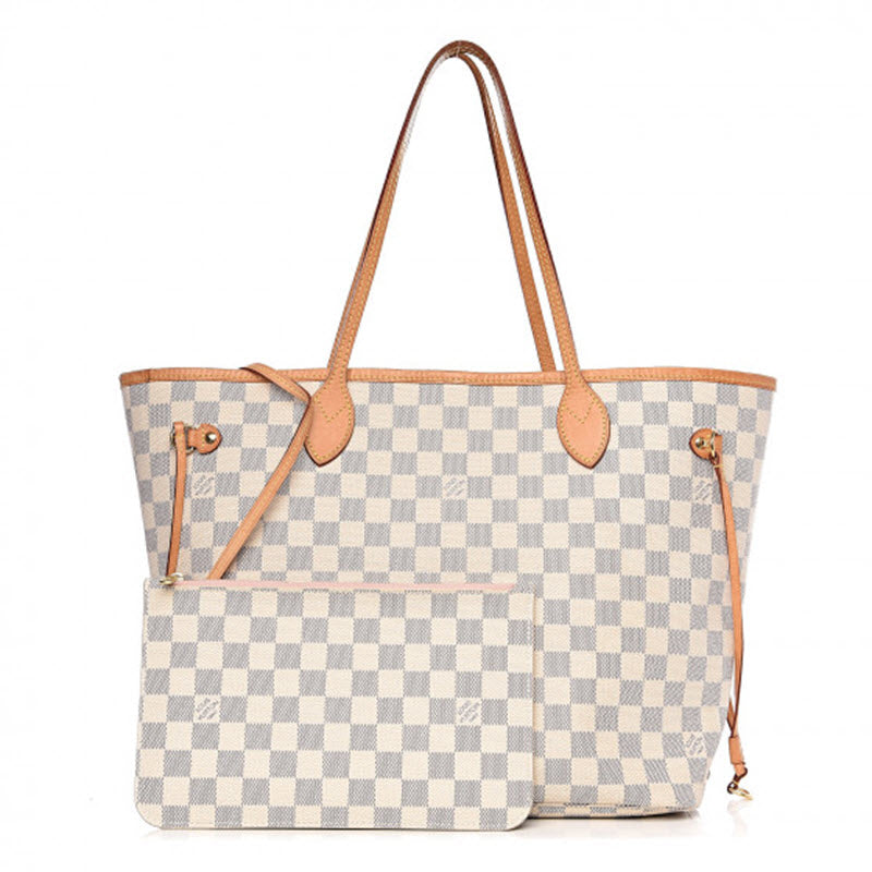 Louis Vuitton Neverfull Neo Damier Azur Rose Ballerine White Coated Canvas Tote