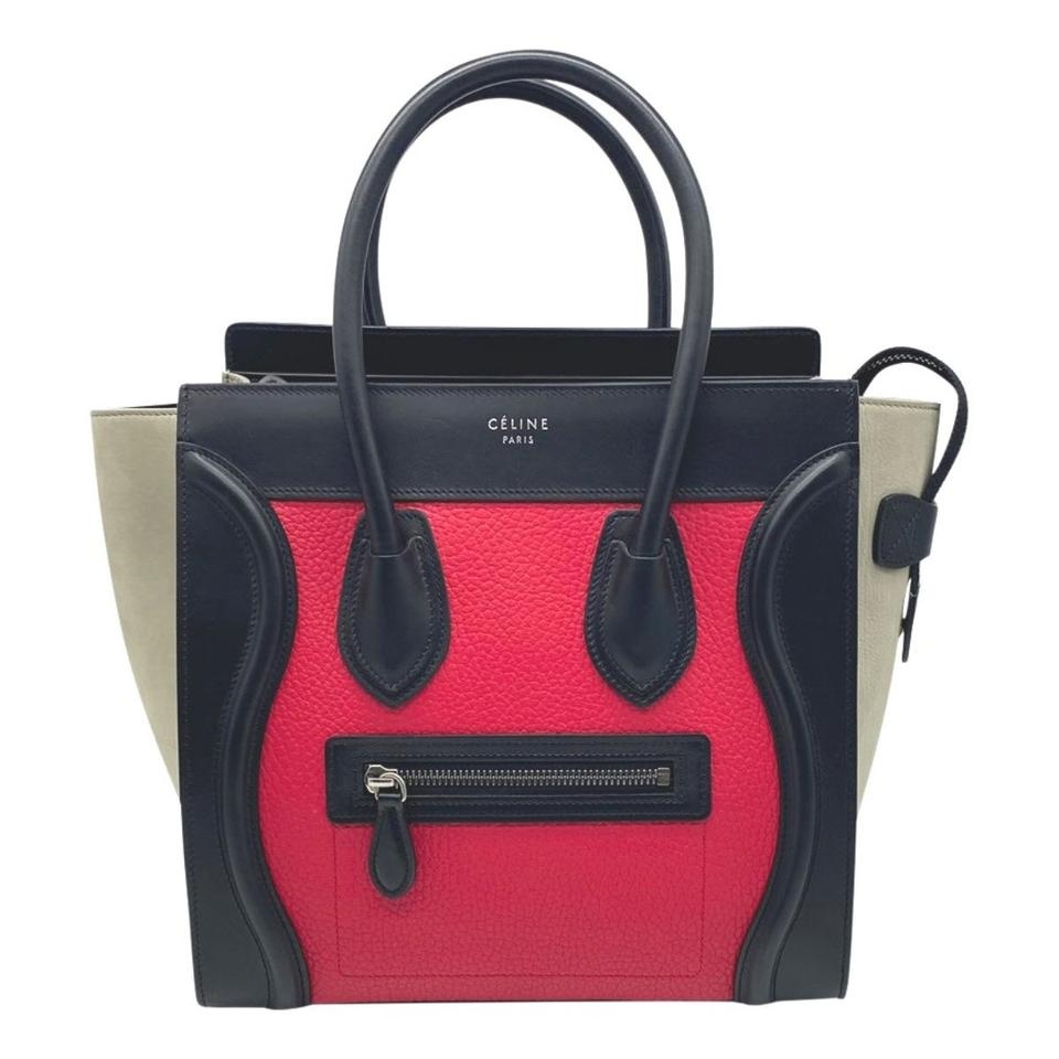 Celine Luggage Grained Calfskin Tri-color Micro Multicolor Black Leather Tote