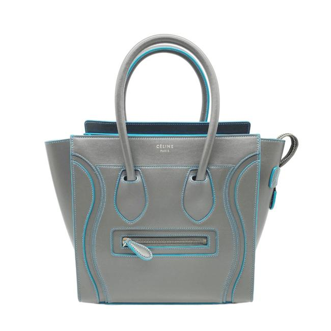 Celine Luggage Micro Satin Blue Trim Grey Leather Tote