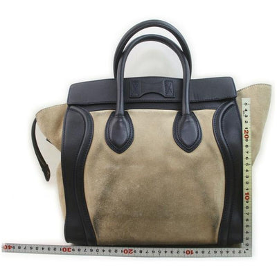 Celine Luggage Smooth Calfskin Bi-color Micro Beige Suede Tote