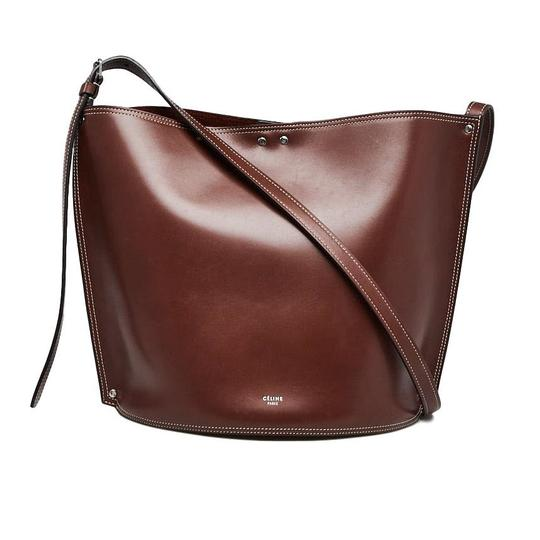 Celine Tote with Drops and Bucket Shiny Studs Small Brown Calfskin Leather Cross Body Bag