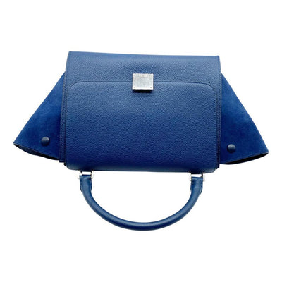 Céline Trapeze Small Grained Petrol Blue Leather Shoulder Bag