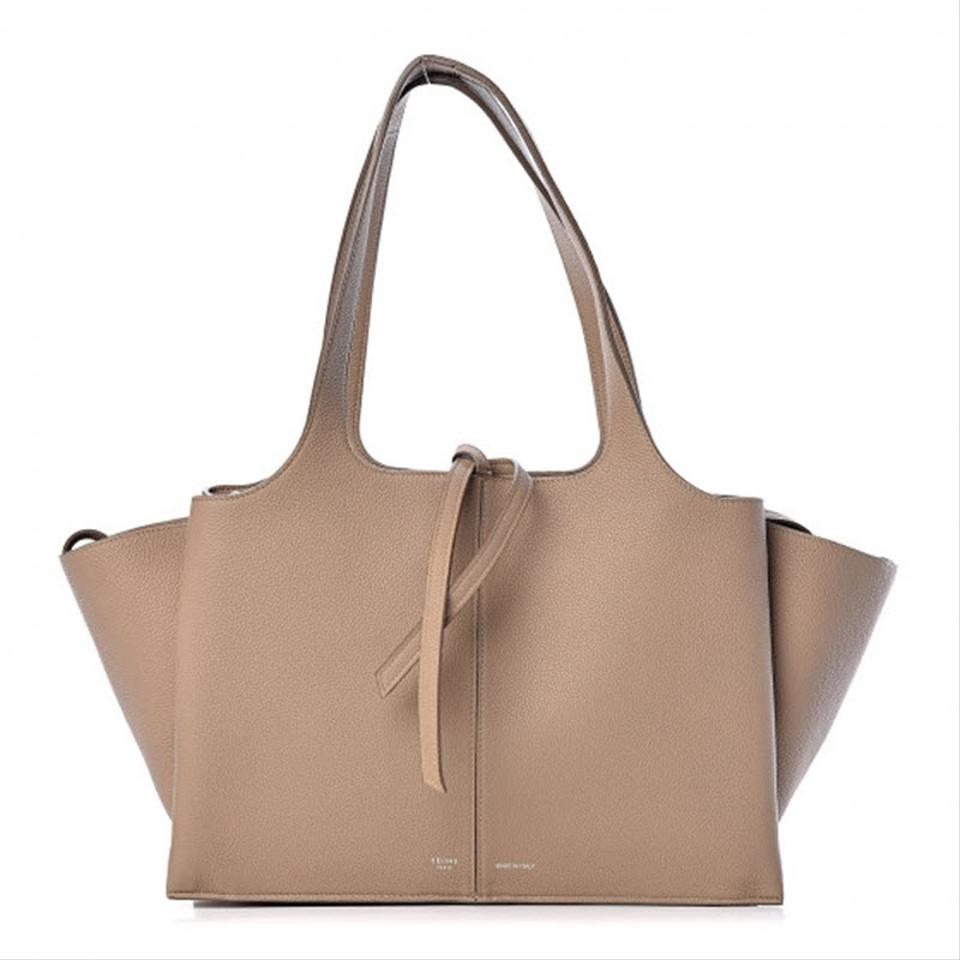 Céline Tri-Fold Baby Grained Calfskin Small Beige Leather Tote