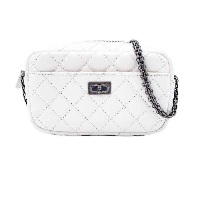 Chanel 2.55 Reissue Camera Case Aged Quilted Mini White Calfskin Leather Shoulder Bag