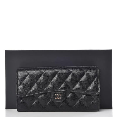 Chanel Black Caviar Quilted Large Gusset Flap Wallet