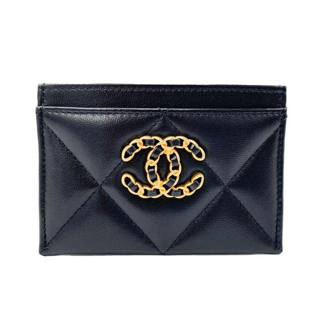 Chanel Black Shiny Goatskin Quilted 19 Card Holder Wallet