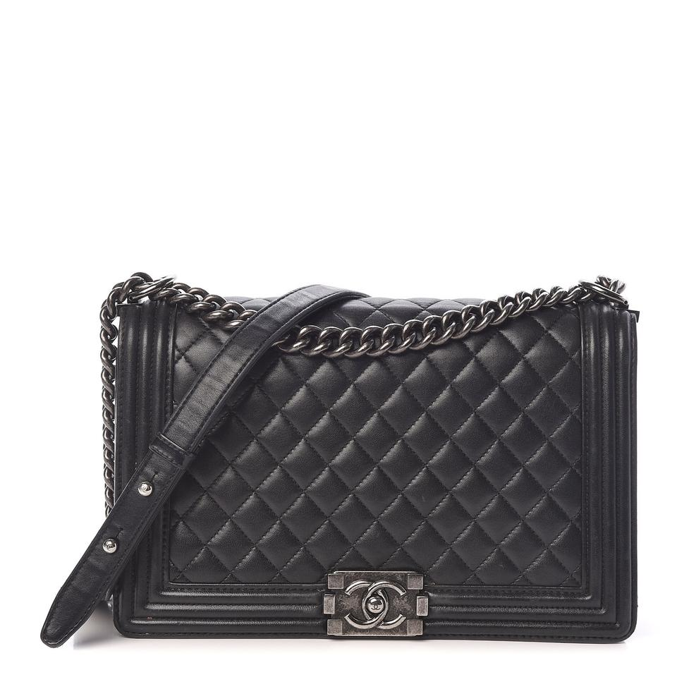 Chanel Boy Quilted New Medium Flap Black Lambskin Leather Cross Body Bag