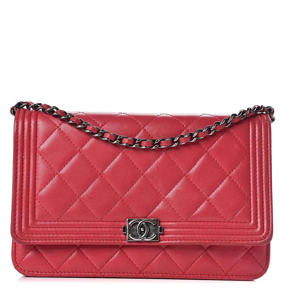 Chanel Boy Wallet on Chain Calfskin Quilted Woc Red Leather Shoulder Bag