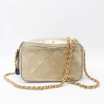 Chanel Camera Case Metallic Gold Lambskin Leather Shoulder Bag