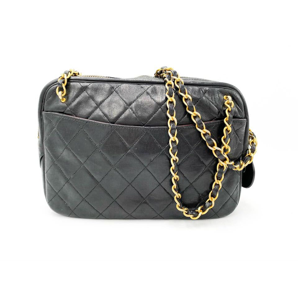 Chanel Case Camera Classic Quilted Chain Cc Black Leather Shoulder Bag
