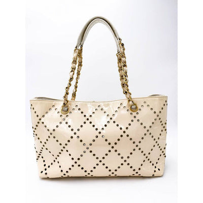 Chanel Cc Chain Perforated Medium Beige Patent Leather Tote
