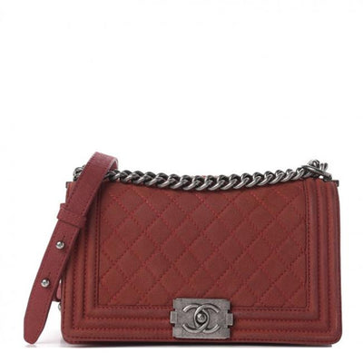 Chanel Classic Flap Boy Iridescent Caviar Quilted Medium Red Leather Shoulder Bag
