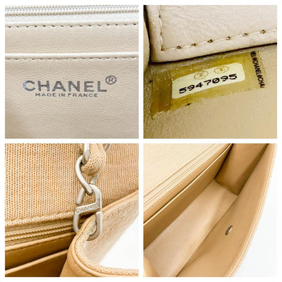 Chanel Classic Quilted Jumbo Single Flap Beige Jersey Shoulder Bag
