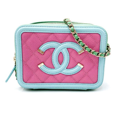 Chanel Clutch Quilted Filigree Vanity with Chain Light Blue Green Pink Leather Shoulder Bag
