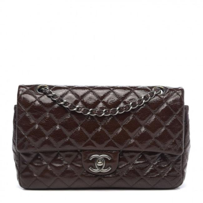 Chanel Double Flap Crinkled Quilted Medium Brown Patent Leather Shoulder Bag