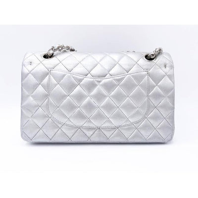 Chanel Double Flap Metallic Quilted Medium Silver Lambskin Leather Shoulder Bag