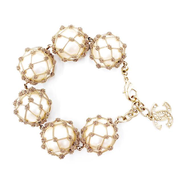 Chanel Gold Catch Of The Day Chain Pearl Cc Drop Crystal Bracelet