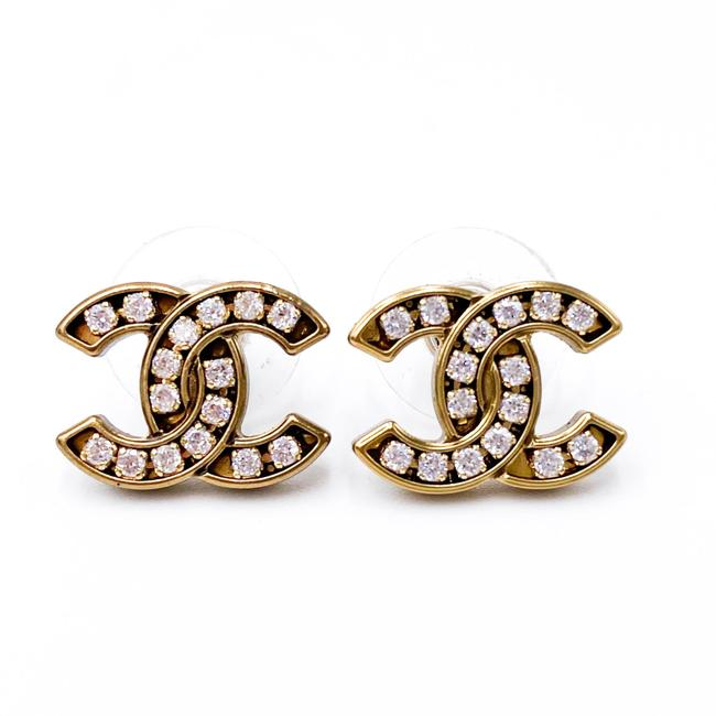Chanel Gold Crystal Cc 2021 Earrings