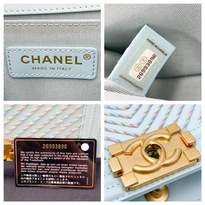 Chanel Handbag Boy Chevron Embroidered Medium By The Sea Flap Blue Calfskin Leather Shoulder Bag