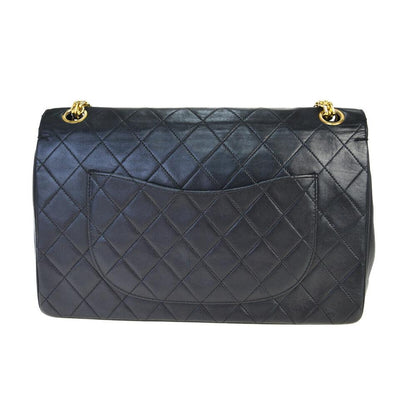 Chanel Mademoiselle Double Flap Lambskin Medium Black Leather Shoulder Bag