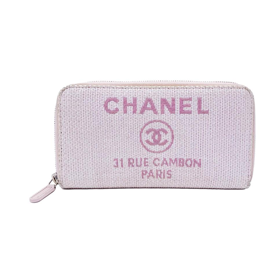 Chanel Pink Deauville Canvas Zip Around Wallet