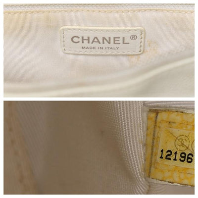 Chanel Shopping Caviar Quilted Grand Gst White Leather Tote