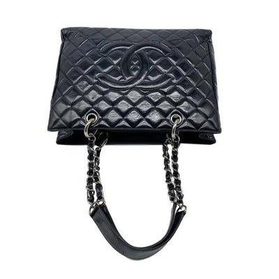 Chanel Shopping Tote Quilted Grand Gst Black Patent Leather Shoulder Bag
