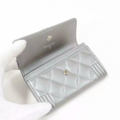 Chanel Silver Boy Metallic Caviar Quilted Card Holder Wallet