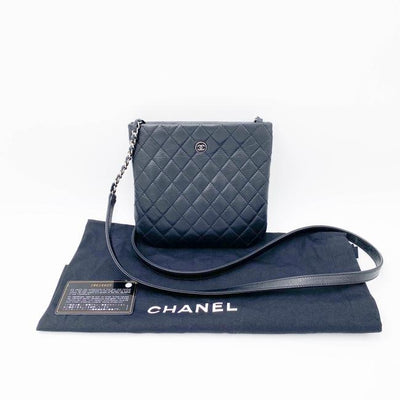 Chanel 2019 Uniform Bag/Wallet Chain Quilted Lambskin Black Leather Cross Body Bag