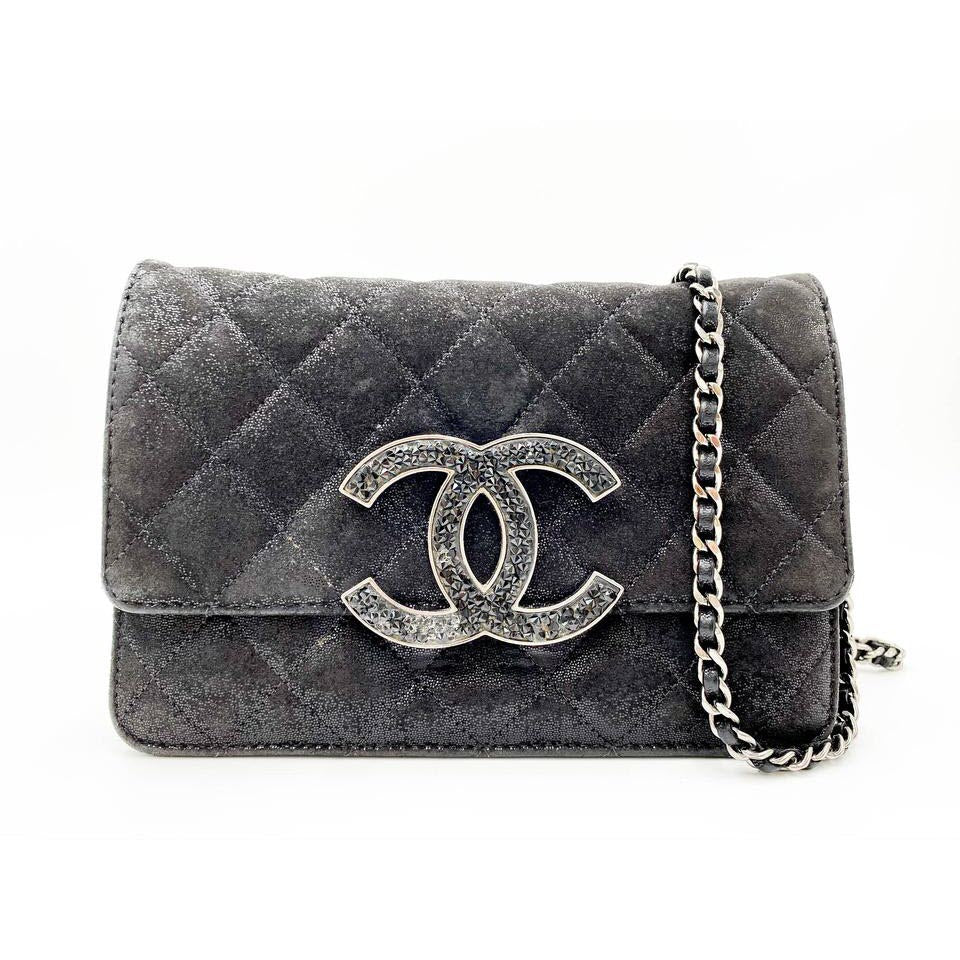 Chanel Wallet on Chain Iridescent Crystal Quilted Woc Black Leather Shoulder Bag