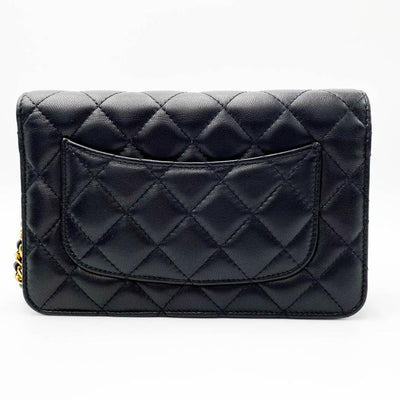 Chanel Wallet on Chain Lambskin Quilted Egyptian Amulet Woc Black Leather Shoulder Bag