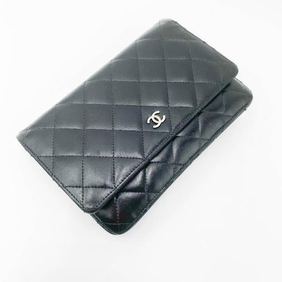 Chanel Wallet on Chain Lambskin Quilted Woc Black Leather Shoulder Bag
