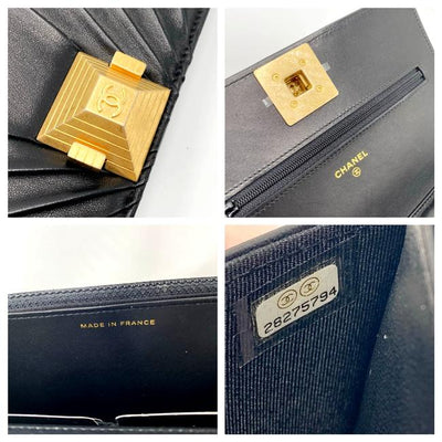 Chanel Wallet on Chain Pyramid Limited Edition Black Lambskin Leather Shoulder Bag