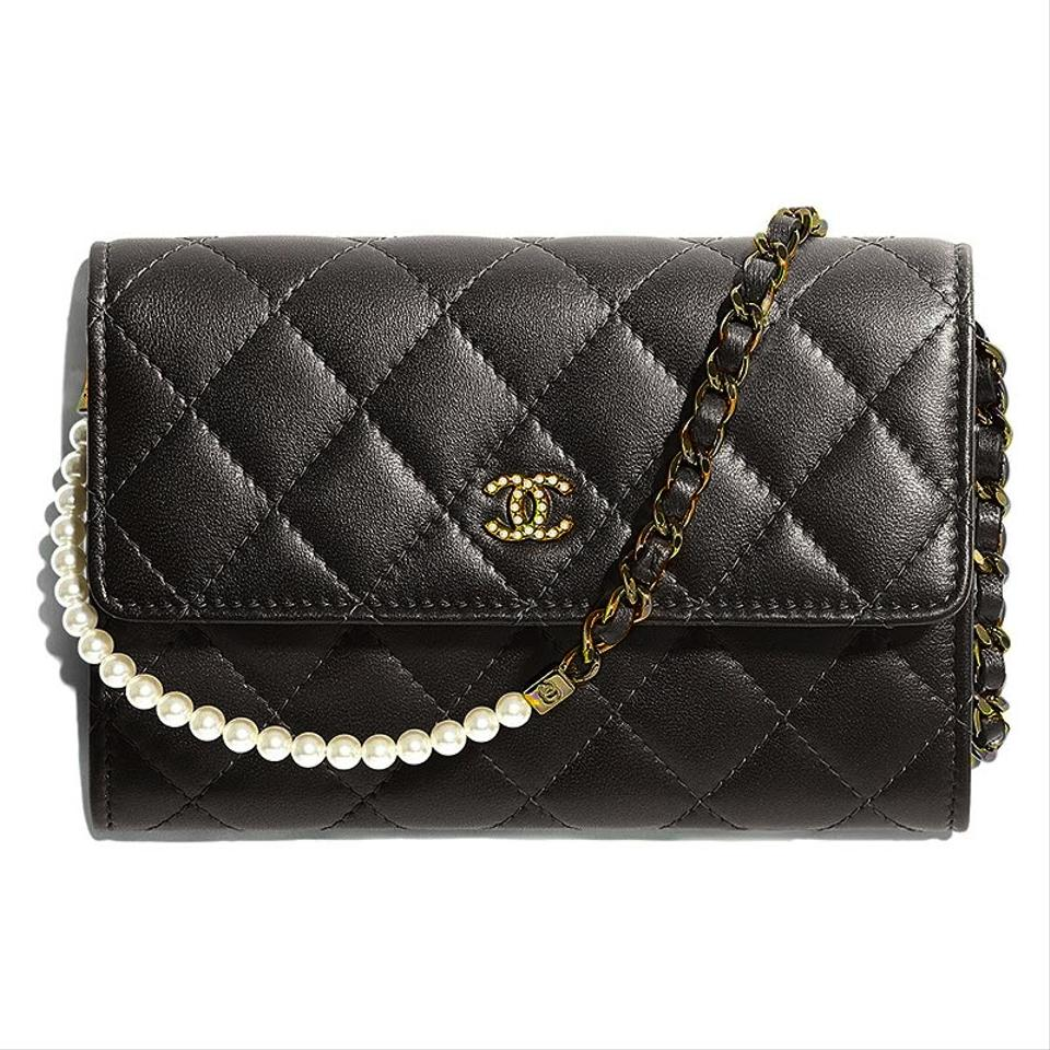Chanel Wallet on Clutch Pearl with Chain Black Lambskin Leather Shoulder Bag