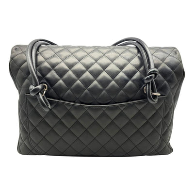 Chanel Tote Cambon Quilted Ligne Large Flap Black Leather Shoulder Bag